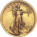High Relief Double Eagles, 1907 $20 High Relief, Flat Rim -- Cleaned -- ANACS. AU58 Details....