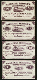 Obsoletes By State:Ohio, Wellsville, OH- William Bright 5¢; 10¢; 25¢; 50¢ Remainders Wolka2798-01; -02; -03; -04. ... (Total: 4 notes)