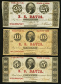 Obsoletes By State:Ohio, Williamsport, OH- E.S. Davis 5¢; 10¢; 25¢ Sep. 1862 Wolka 2836-01;-02; -03. ... (Total: 3 notes)