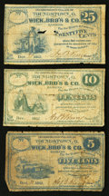 Obsoletes By State:Ohio, Youngstown, OH- A.B. Reny at Wick, Bro's & Co. 5¢; 10¢; 25¢Dec. 1862 Wolka 2918-01; -02; -03. ... (Total: 3 notes)