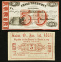 Obsoletes By State:Ohio, Salem, OH- Isaac Trescott 5¢; 50¢ Jan. 1, 1863; Undated RemainderWolka 2363-01; -04. ... (Total: 2 notes)