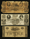 Obsoletes By State:Ohio, Warren, OH- The Western Reserve Bank Counterfeit $3; Counterfeit$5; Raised $10 1825-63 C20a; C64; UNL Wolka 2741-18; -34; -...(Total: 3 notes)