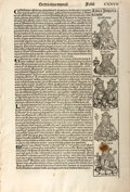 Books:Early Printing, [Antiquarian Leaf]. Single Leaf from the Nuremberg Chronicle. 1493. The leaf features eleven woodcuts, some of which...