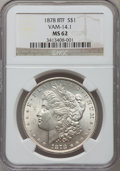 Morgan Dollars, 1878 8TF $1 MS62 NGC. VAM-14.1. NGC Census: (1719/5233). PCGSPopulation (2201/7090). Mintage: 699,300. Numismedia Wsl. Pri...