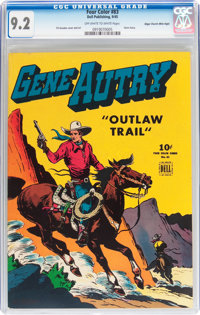 Four Color #83 Gene Autry - Mile High pedigree (Dell, 1945) CGC NM- 9.2 Off-white to white pages