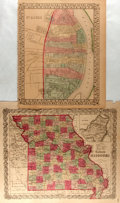 Books:Maps & Atlases, [Maps]. [Samuel Augustus Mitchell, Joseph Hutchins Colton]. Pair of Hand-Colored Maps Depicting St. Louis and Missouri. 1855...
