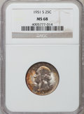 Washington Quarters: , 1951-S 25C MS68 NGC. NGC Census: (5/0). PCGS Population (1/0).Mintage: 9,048,000. Numismedia Wsl. Price for problem free N...