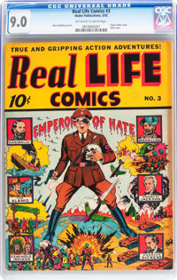 Real Life Comics #3 (Nedor Publications, 1942) CGC VF/NM 9.0 Off-white to white pages