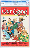 Golden Age (1938-1955):Humor, Our Gang Comics #1 (Dell, 1942) CGC NM 9.4 White pages....