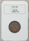 Barber Quarters: , 1915 25C MS66 NGC. NGC Census: (9/1). PCGS Population (18/0). Mintage: 3,480,450. Numismedia Wsl. Price for problem free NG...