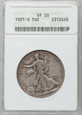Walking Liberty Half Dollars: , 1921-S 50C VF20 ANACS. NGC Census: (83/304). PCGS Population(111/399). Mintage: 548,000. Numismedia Wsl. Price for problem...