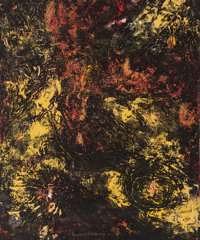 BEAUFORD DELANEY (American, 1910-1979) Untitled, circa 1960 Oil on paper mounted on canvas 20-1/2