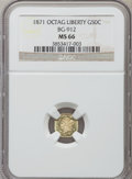 California Fractional Gold, 1871 50C Liberty Octagonal 50 Cents, BG-912, R.3, MS66 NGC....