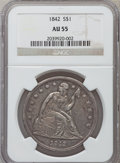 Seated Dollars: , 1842 $1 AU55 NGC. NGC Census: (90/151). PCGS Population (69/119).Mintage: 184,618. Numismedia Wsl. Price for problem free ...