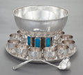 Silver Holloware, American:Punch Bowls, A FIFTEEN PIECE OLD NEWBURY CRAFTERS SILVER AND ENAMEL PUNCH BOWL SET. Old Newbury Crafters, Newburyport, Massachusetts, cir... (Total: 15 Items)