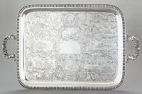 A RARE WILLIAM GALE COIN SILVER TWO HANDLED TRAY William Gale & Son, New York, New York , 1851 Marks: WM