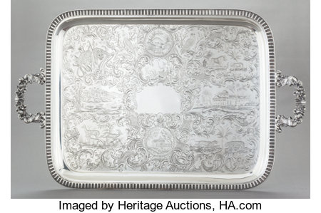 A RARE WILLIAM GALE COIN SILVER  TWO HANDLED TRAY   William Gale & Son, New York, New York , 1851 Marks: WM GALE & SON, ...