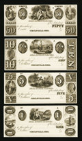Obsoletes By State:Ohio, Circleville, OH- Unknown Issuer 50¢, $1, $5, $10 Wolka 0684-01, 02,03, 04 Proofs. ... (Total: 4 notes)