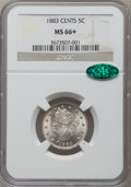 Liberty Nickels, 1883 5C With Cents MS66+ NGC. CAC....