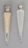 Silver Smalls:Other , TWO UNGER BROTHERS SILVER AND CUT GLASS PERFUME BOTTLES . UngerBrothers, Newark, New Jersey, circa 1900. Marks: UB (int...(Total: 2 Items)