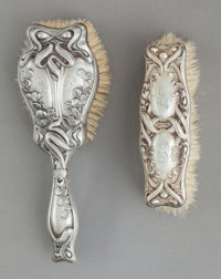 TWO WILLIAM KERR & CO. SILVER BRUSHES, Newark, New Jersey, circa 1900 Marks: (fasces), STERLING, 1717
