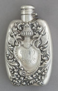 Silver Holloware, American:Flasks, AN UNGER BROTHERS SILVER REPOUSSÉ FLASK . Unger Brothers, Newark,New Jersey, circa 1900. Marks: UB (conjoined),STERL...