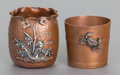 Silver Smalls:Other , TWO GORHAM PATINATED COPPER AND MIXED METAL TOOTHPICK HOLDERS .Gorham Manufacturing Co., Providence, Rhode Island, circa 18...(Total: 2 Items)