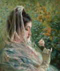 Fine Art - Painting, American:Antique  (Pre 1900), STEPHEN WILSON VAN SCHAICK (American, 1800-1899). WomanContemplating a Rose, circa 1885. Oil on canvas. 14 x 12 inches...
