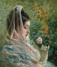 STEPHEN WILSON VAN SCHAICK (American, 1800-1899) Woman Contemplating a Rose, circa 1885 Oil on canva