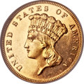Three Dollar Gold Pieces, 1885 $3 MS64 Prooflike NGC....