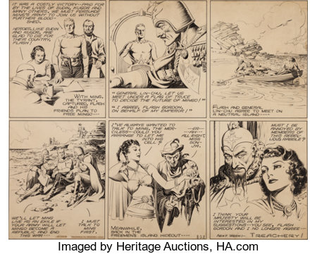 Alex Raymond Flash Gordon Sunday Comic Strip (Used to Create a USPS 1995 Comic Strip Classics Stamp) O... (Total: 2 Items)