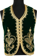 Music Memorabilia:Costumes, Jimi Hendrix Owned/Worn Green Velvet Vest With Gold Embroidery (1960s)....