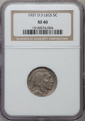 Buffalo Nickels: , 1937-D 5C Three-Legged XF40 NGC. NGC Census: (296/4642). PCGSPopulation (602/4457). Mintage: 17,826,000. Numismedia Wsl. P...