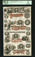 Obsoletes By State:Ohio, Cleveland, OH- The Forest City Bank $1-$3-$5-$10 Wolka 0732-19Uncut Proof Sheet. ...