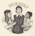 Illustration:Advertising, NORMAN ROCKWELL (American, 1894-1978). Friendly, The Franklin Mint Girl Scouts Ingot Series, 1977. Pencil on paper. 10-7...
