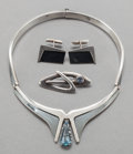 Silver Smalls:Other , A SIGI PINEDA MEXICAN SILVER AND AQUAMARINE JEWELRY SET . SigfridoPineda, Taxco, Mexico, circa 1950. Marks: Sigi, TASCO, ...(Total: 4 Items)