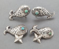 Silver Smalls:Other , A HUBERT HARMON MEXICAN SILVER AND HARDSTONE EARRINGS ANDCUFFLINKS. Hubert Harmon, Taxco, Mexico, circa 1944-1948. Marks:... (Total: 4 Items)