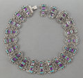Silver Smalls:Other , A MATL MEXICAN SILVER, AMETHYST AND TURQUOISE NECKLACE . RicardoSalas, Mexico City, Mexico, post 1980. Marks: Matl, MEXIC...