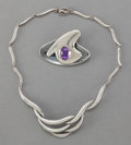 Silver Smalls:Other , A SIGI PINEDA MEXICAN SILVER AND AMETHYST NECKLACE AND BROOCH .Sigfrido Pineda, Taxco, Mexico, circa 1950. Marks: Sigi, T...(Total: 2 Items)