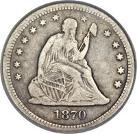 1870-CC 25C -- Repaired, Whizzed-- NCS Genuine. Fine Details....(PCGS# 5477)
