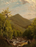 Fine Art - Painting, American:Antique  (Pre 1900), RICHARD WILLIAM HUBBARD (American, 1817-1888). A MountainStream, 1880. Oil on board. 12 x 9-1/4 inches (30.5 x 23.5cm)...