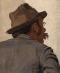 Paintings, LOUIS CHARLES MOELLER (American, 1855-1930). Man from the Back with Glasses. Oil on canvas. 5 x 4 inches (12.7 x 10.2 cm...