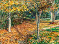 WILL HICKOK LOW (American, 1853-1932) Carpet of Leaves, Giverny, 1901 Oil on canvas laid on masonite