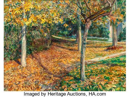 WILL HICKOK LOW (American, 1853-1932)Carpet of Leaves, Giverny, 1901Oil on canvas laid on masonite21-1/2 x 29 inch...