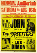 Music Memorabilia:Posters, Little Willie John and the Upsetters Concert Poster (1958)....