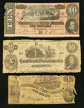 Confederate Notes:1862 Issues, T44 $1 1862.. T46 $10 1862.. T68 $10 1864.. ... (Total: 3 notes)