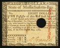 Colonial Notes:Massachusetts, Massachusetts May 5, 1780 $8 Hole Cancel About New.. ...