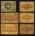 Fractional Currency:First Issue, Fr. 1230 5¢ First Issue. Three Examples. Very Good or better.. Fr. 1281 25¢ First Issue. Two Examples. Very Good or better.. F... (Total: 6 notes)