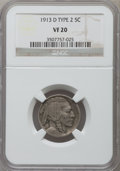 Buffalo Nickels: , 1913-D 5C Type Two VF20 NGC. NGC Census: (21/1002). PCGS Population (35/1461). Mintage: 4,156,000. Numismedia Wsl. Price fo...