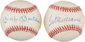 Autographs:Baseballs, 1990's Mickey Mantle & Ted Williams Single Signed Baseballs Lotof 2....